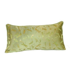 Pre-owned Silk Green Dragonfly 12x24 Pillow - Layering on the perfect throw pillow is the cherry on top for achieving an effortlessly styled effect in your room. This adorable 12x24 green silk pillow features a dragonfly design, piping, and a hidden zipper on back.    We have 8 pillows available. If you would like more than one, please contact support@chairish.com.
