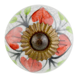 Knob Lovers - Catherine Knob - Meet Catherine, a Renaissance styled white crackled ceramic knob. She features detailed hand painted forest designs in red and green. Catherine is set upon a bronze mount and is topped with a bronze cap.