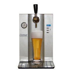 Mini Keg Beer Dispenser - Serve your favorite brew in high style. This attractive tabletop beer dispenser features digital temperature controls to let you set the exact temperature of your beer while the Co2 regulates your pour. The thermoelectric technology used to cool the beer is ultra-quiet and energy efficient. Featuring a black and silver body with a removable spill tray for easy cleanup, this unit is sure to look good wherever it is placed. Three Co2 cartridges are included to get you started.