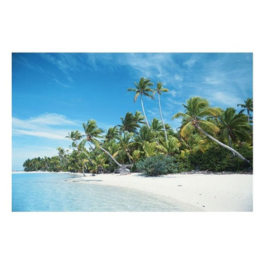 ArtisticHomeowner.com - One Foot Island Beach Mural - One Foot Island Beach tropical photo wall mural.  Cook Islands Aitutaki.