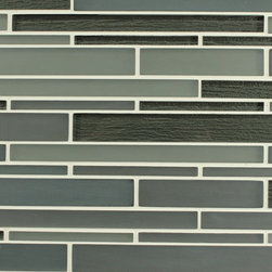 Bahia Smoke Glass Strip Mosaic Tiles, 10 Square Feet - A smoky mix of matte blue greys come together with high gloss black textured strips. The textured backing has a crinkled effect giving it a one of a kind look. A great choice for a kitchen backsplash, accent strip, or perhaps a feature wall behind your bathroom vanity! Smoke also comes in a square mosaic blend.