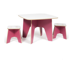 Quark Enterprises - Kids Table and 2 Stool Set, Pink - The Sprout Kids Table and Stools are perfect for drawing, play, or projects. They are made just the right size so you won't have to worry about potential falls, securing a booster seat, or helping your little ones climb up and down. The surface is durable and stain resistant so any spills will clean up easily.