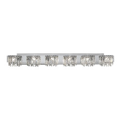 "Possini Euro Design - Possini Euro Design Hanging Crystal 50 3/4"" Wide Bath Light - Indulge in luxury with this elegant bathroom light fixture from the Possini Euro Design indoor lighting collection. Six opulent lights with hanging crystals sit along a chrome finish bar adding a bit of grandeur to your bathroom. Simply stunning. Chrome finish with hanging crystals. Includes six 40 watt G9 halogen bulbs. 50 3/4"" wide. 6 1/2"" high. Extends 4"" from the wall.  Chrome finish with hanging crystals.  Includes six 40 watt G9 halogen bulbs.  50 3/4"" wide.  6 1/2"" high.  Extends 4"" from the wall."