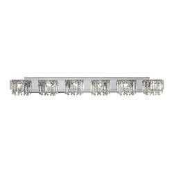 "Possini Euro Design - Possini Euro Design Hanging Crystal 50 3/4"" Wide Bath Light - Indulge in luxury with this elegant bathroom light fixture from the Possini Euro Design indoor lighting collection. Six opulent lights with hanging crystals sit along a chrome finish bar adding a bit of grandeur to your bathroom. Simply stunning. Chrome finish with hanging crystals. Includes six 40 watt G9 halogen bulbs. 50 3/4"" wide. 6 1/2"" high. Extends 4"" from the wall.  Chrome finish with hanging crystals.  Includes six 40 watt G9 halogen bulbs.  50 3/4"" wide.  6 1/2"" high.  Extends 4"" from the wall.  Backplate is 41 1/2"" Wide x 5"" High."