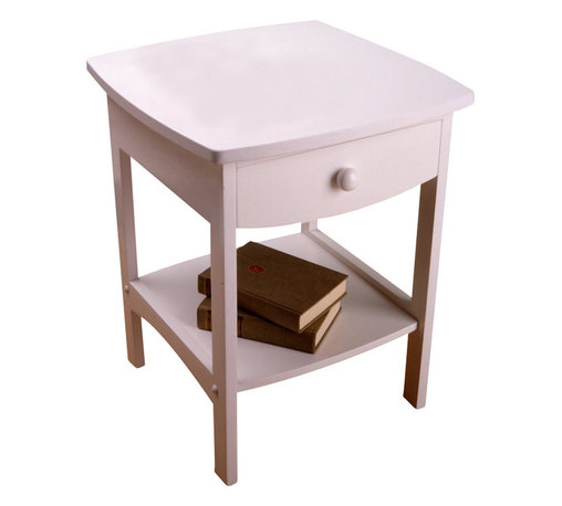 Winsome - Winsome Basics Solid Wood End Table / Nightstand in White - Winsome - End Tables - 10218 - The Winsome Basics End Table / Nightstand projects subtle style with it's gently rounded corners. Its simple design and minimal detail with its pure white finish makes it a perfect addition to a variety of decor styles. Also a part of its appeal is its sturdy construction made from solid wood products. Winsome Basics Curved Wood End Table / Nightstand is the perfect simple and sturdy addition to your furniture collection