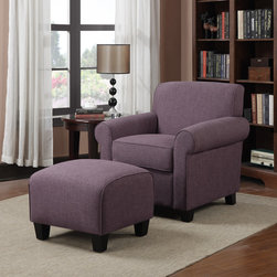 PORTFOLIO - Portfolio Mira Amethyst Purple Linen Arm Chair and Ottoman - Bring traditional style into your home with this plush amethyst-purple chair and ottoman set.The comfortable chair features a polyester and foam seat cushion,while the matching ottoman has a firm cushion that is perfect for use as a footrest.