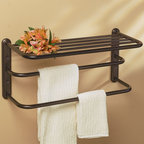 Double Towel Bar with Shelf - This stylish and sturdy double towel bar with shelf mounts easily to any bathroom wall and holds lots of your towels. Comes in your choice of finish.