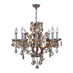 "Worldwide Lighting - Lyre 8 Light Chrome Finish and Amber Crystal Chandelier 26"" D x 22"" H Large - This stunning 8-light Crystal Chandelier only uses the best quality material and workmanship ensuring a beautiful heirloom quality piece. Featuring a radiant chrome finish and finely cut premium grade amber colored crystals with a lead content of 30%, this elegant chandelier will give any room sparkle and glamour. Worldwide Lighting Corporation is a privately owned manufacturer of high quality crystal chandeliers, pendants, surface mounts, sconces and custom decorative lighting products for the residential, hospitality and commercial building markets. Our high quality crystals meet all standards of perfection, possessing lead oxide of 30% that is above industry standards and can be seen in prestigious homes, hotels, restaurants, casinos, and churches across the country. Our mission is to enhance your lighting needs with exceptional quality fixtures at a reasonable price."