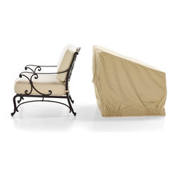 Frontgate - San Luca Outdoor Lounge Chair Cover - Covers fit our most popular outdoor furniture pieces. Made of heavy-duty, 600 denier polyester. Lined with a layer of waterproof PVC. Soft fleece underside protects aluminum frames. 500 hour UV tested. We've re-engineered our best-selling premium furniture covers to provide an unparalleled level of protection for your outdoor furnishings. Designed with meticulous detail, these durable three-ply covers boast 600-denier polyester outer shell and a layer of waterproof PVC to ensure superior performance and long-lasting functionality in searing sun, blinding rain, prodigious snow, and bitter cold.  .  .   Won't fade in the hottest sun, or crack in temperatures dropping to 0 degreesF. Double-stitched seams (6 stitches per inch). Elastic edging, drawstrings, or reinforced ties hold covers securely in place. Built-in mesh vents with protective flaps help circulate air and keep water and mildew from reaching inside. Deep seating and chaise covers include an embroidered Frontgate logo . Easy to care for. Imported.