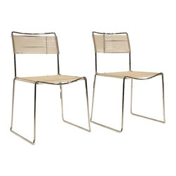 Pre-owned Mid-Century Modern Chrome Wire Spaghetti Chairs - Mama Mia, here we go again! This mouth-watering pair of Mid-Century Modern chairs with a chrome frame and spaghetti style rubber banding is definitely amore. Their angular silhouettes are fresh and simple and these chairs are extremely as comfy, since it feels like you're sitting in a bowl of spaghetti. You can use them in a breakfast nook and dining room for extra seating or simply as accent pieces in the living room.