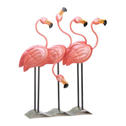 KOOLEKOO - Flock O' Flamingos Decor - Sunny tropics and sandy beaches spring to mind at the very sight of this fabulous flock of bright pink flamingos. Metal-art statue is a colorful confection that no discerning decorator will want to do without!