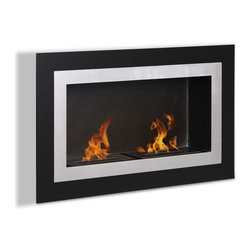 "Ignis Products - Villa Built-In / Wall Mounted Ventless Ethanol Fireplace - Give any room a functional modern update with the addition of this Villa Recessed Ventless Ethanol Fireplace. This fireplace comes with everything you need to create a warm, friendly, and inviting atmosphere in your living room, den, or elsewhere. It features a stainless steel inner frame and black glass outer frame. Unlike traditional fireplaces, this clean-burning ethanol fireplace doesn't require gas or electrical lines, and it doesn't need a chimney to work. It is super easy to install and comes with two 1.5-liter burners that throw 12,000 BTUs of warm, comforting heat. Dimensions: 35.5"" x 21.6"" x 6.25"". Features: Ventless - no chimney, no gas or electric lines required. Easy or no maintenance required. Easy Installation - Can be mounted directly on the wall or recessed (mounting brackets included). Capacity: 1.5 Liters per Burner. Approximate burn time - 5 hours per Burner per refill. Approximate BTU output - 6000 per Burner (Total BTU - 12000)."
