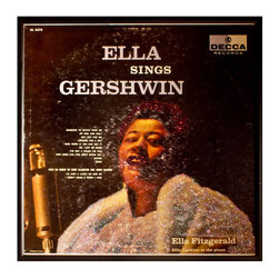 "Glittered Ela Fitzgerald Ella Sings Gershwin Album - Glittered record album. Album is framed in a black 12x12"" square frame with front and back cover and clips holding the record in place on the back. Album covers are original vintage covers."