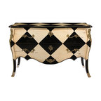 French Heritage - Romille Commode - Rich black and white color and gilded ornaments heighten the sense of historic fashion this piece lends any setting. -Two Drawers