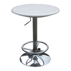 """Boraam - Boraam Luna Adjustable Pub Table in White - Adjustable Pub Table in White in the Luna Collection by Boraam Want to brighten up your game room or bar area? The Luna Adjustable Pub Table would add color to any room. Available in black, red and white this table is a standout! This ultra modern pub table can be easily adjusted from 33"""" to 39"""" using air lift technology. With a swivel top and a chrome base, this table would be the perfect accent piece to any room!"""