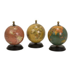 iMax - iMax Mini Globe Set on Wood Base - Set of three colorful, antique finish mini globes each on an individual wooden base.