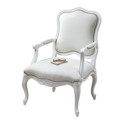 """Uttermost - Uttermost Willa Pearl Armchair - Willa Pearl Armchair by Uttermost Gloss White Enamel On A Carved, Solid White Poplar Wood Frame With Meticulously Reinforced Joinery. Supple, White Faux Leather Is Accented With Individually Hammered, Polished Nickel Nails. Seat Height Is 18""""."""
