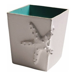 Aqua Starfish Wastebasket by Jane Gray for Stray Dog Designs - This wastebasket with the wrap around starfish and aqua interior is pretty and beachy. It's made of papier mache from recycled materials and by artisans in Haiti.