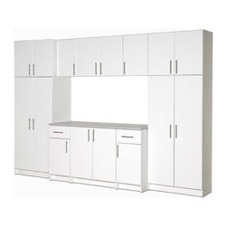Prepac - Elite 10-Pc Cabinet Storage Set in White - This 10-piece storage set is easy to configure with its adjustable shelves. Measuring 89 inches high by 112 inches wide and 24 inches deep you'll have so much space to store things, you may need to go out and buy more stuff! Organize your tools, sports equipment, car products, and more with this ten piece garage storage cabinet. Its attractive white finish is always fresh and pleasant and comes with such enhancing details as designer hardware and European style hinges. * Includes three 32 in. stackable wall cabinets, two 16 in. stackable wall cabinets, 16 in. base cabinets, one 32 in. wardrobe cabinet, 32 in. storage cabinet and 32 in. base cabinet. 32 in. storage cabinet with 1 in. thick durable melamine work surface. Two adjustable shelves and one fixed shelf. 16 in. base cabinet has heavy duty drawer with metal sides. One adjustable shelf. 32 in. base cabinet with one adjustable shelf. 32 in. wardrobe cabinet with one fixed shelf and one hanging rail. 32 in. stackable wall cabinet with one adjustable shelf. 16 in. stackable wall cabinet with one adjustable shelf. Stylish brushed metal handles. Door with high quality European-style 6-way adjustable hinges that mount to open left or right. MDF door and drawer front with profiled rounded edges. Durable laminate finish. CARB-compliant. Warranty: Five years limited. Made from laminated composite woods with a sturdy MDF backer. Made in North America. Assembly required. Storage cabinet: 32 in. W x 16 in. D x 65 in. H. 16 in. base cabinet: 16 in. W x 24 in. D x 36 in. H. 32 in. base cabinet: 32 in. W x 24 in. D x 36 in. H. 32 in. stackable wall cabinets: 32 in. W x 16 in. D x 24 in. H. 16 in. stackable wall cabinet: 16 in. W x 16 in. D x 24 in. H. 32 in. wardrobe cabinet: 32 in. W x 20 in. D x 65 in. H