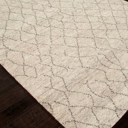 Zuri Natural White Zuma Hand Knotted Rug - 9' x 12' - Wavy lines forming a not-quite-lattice design make a bold play on traditional patterns, their avoidance of precision creating something decidedly fresh in the Zuri Natural White Zuma Rug's look.  A textural pile � nearly an inch deep and cloud-soft to the hand � enhances the transitional comfort and luxury of this beautiful rug when the pale covering is spread on your floor.
