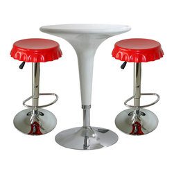 Buffalo Tools - AmeriHome 3 Piece Soda Cap Bar Set - 3 Piece Soda Cap Bar Set by AmeriHome The AmeriHome 3 Piece Soda Cap Bar Set has a fun and funky design with clean, modern lines that fits in perfectly with a contemporary d??cor. This 3 piece bistro Bar Set is comfortable for 2 adults to have a small meal in the breakfast nook, a cup of coffee in the sunroom, or snacks watching the game in the basement TV room. Great for college dorms, office break rooms, and children?��s play rooms too. A sleek and fun silhouette with a polished mirror-like chrome base and shiny molded seats give this set a fun ultramodern look. The Adjustable Height Bar Table and Bar Stools are made from durable ABS plastic. A dimple on the tabletop indicates where to find the height adjustment lever, so you won?��t have to bend over and search for it under the table. The bar stools are designed for comfort with a 13 inch wide molded 360 degree seats, built in footrests and an adjustable seat height of 23.5 to 32 inches.  Great table to provide extra space for your family and guests in the breakfast nook, sunroom or basement TV room Bar stool adjustable seat height: 23.5 to 32 in., bar stool weight capacity: 330 lbs. Bar table adjustable height: 28 to 36 in., bar table weight capacity: 265 lbs., 24 inch diameter table top Set includes 1 glossy white adjustable bar height table in and 2 glossy red adjustable counter height bar stools