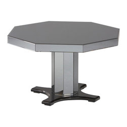 Standard - Standard Parisian Octagonal Pedestal Dining Table in Glossy Black - As new trends take hold and consumer taste changes, Standard Furniture is continually adding product lines typically introduces 25 to 40 new product groups at each of the major furniture markets throughout the year. A healthy mix of price points to suit any budget. Standard Furniture's quality and value is second to none. Parisian Dining has the glamorous look of a chic Paris salon with its sophisticated modern styling and luxurious materials. Upscale design features include crisp angled lines and a unique combination of smoked mirror panels, glossy black surfaces and black chrome hardware. The Rectangle Leg Table has clipped top corners with canted legs that taper sharply, and all surfaces are fully wrapped in the beveled edge smoked mirror panels. This table includes one extension leaf for extra guest seating. The Octagonal Pedestal Table has smoked mirror panels on its top surface, its apron and faceted pedestal, with the base in a complimentary gloss black finish. A modern black framed chair coordinates well with this posh collection, and has its seat and back cushions upholstered in plush and shimmery charcoal gray velvet. The functional Sideboard offers tableside serving on its mirrored top and ample storage within deep drawers and door areas accented by black chrome knobs. This elegant piece is totally wrapped in the smoked mirror panels, and also features the clipped corners and canted tapering legs.