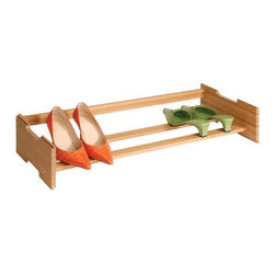 Richards Homewares - Stackable Shoe Rack, Bamboo - Keep your closet and shoes organized with this Stackable Bamboo Shoe Rack by Richards Homewares. The single tiered shoe organizer is designed to be stacked upon another and makes an excellent closet maximizer when space is limited. Constructed from beautiful bamboo, this individual shoe rack can hold up to 4 pairs of shoes.