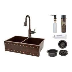 "Premier Copper Products - 33"" Apron 50/50 Double Basin Sink/ Barrel Strap/ORB Faucet/Matching Accessories - PACKAGE INCLUDES:"