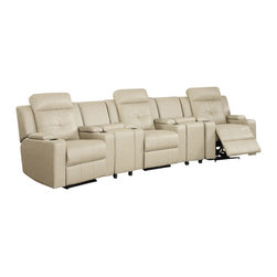 """ACPAviator - 5 pc Aviator collection sand color bonded leather theater seating power motion - 5 pc Aviator collection sand color bonded leather theater seating power motion reclining sectional sofa set.  This sectional includes 3 power motion reclining chairs with built in cup holders in the arms and 2 pie shaped console wedges.  Sectional measures 138"""" x 38"""" D x 40"""" to the back.  Additional pieces can be ordered separately.  Some assembly required."""