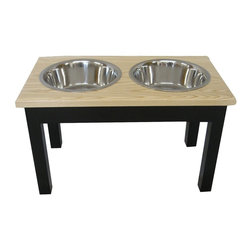 """2 Bowl Traditional Style Diner Medium 2 QT Natural, 2 Qt Espresso/Natural - 2 Bowl Traditional Style Diner Medium 2 QT Espresso/Natural 2-Quart bowl 9"""" tall"""