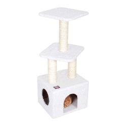 "MAJESTIC PET PRODUCTS - 40"" Casita - Keep your kitty's claws off your furniture by supplying them with their own cat tree. Your feline can stretch their legs up on the sisal-rope-wrapped posts, and then take a rest in the faux fur hideaway. Easy setup and two playful perches on top make this the perfect cat tree for your home."