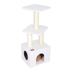"Majestic Pet Products - 40"" Bungalow - Sherpa - Majestic Pet Products 40"" Casita Cat Tree is covered in elegant Faux Fur with Sisal Rope wrapped posts, that will withstand the toughest claws. A luxurious main residence is topped by two different perches perfect for napping and pouncing. Our"" Casita Cat Tree assembles in minutes with simple step by step instructions and tools provided."