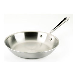 All-Clad - Stainless Steel Fry Pan - Sear, brown, and pan fry everything from eggs to meat with the All-Clad Stainless Steel Fry Pan. This pan's flat bottom and flared sides make it easy to toss food or turn it with a spatula. Its three-ply bonded stainless steel offers exceptional heating performance, even in induction cooking. Features: -Dishwasher safe.-Made in the USA.-Stainless collection.-Collection: Stainless.-Distressed: No.-Powder Coated Finish: No.-Gloss Finish: No.-Material: Stainless Steel; Aluminum.-Base Material: Stainless Steel.-Hardware Material: Stainless Steel.-Product Type: Frying Pan.-Shape: Round.-Non Toxic: Yes.-Scratch Resistant: No.-Rust Resistant: No.-Warp Resistant: No.-Chip Resistant: No.-Tarnish Resistant: No.-Stain Resistant: No.-Peel Resistant: No.-Nonreactive: Yes.-Non-Stick Surface: No.-Construction: 3-Ply.-Oven Safe: Yes.-Microwave Safe: No.-Dishwasher Safe: Yes.-Preseasoned: No.-Stove Type Compatibility: Gas; Electric; Halogen; Induction; Glass.-Handles: Yes -Number of Handles: 1.-Handle Material: Stainless steel.-Handle Finish: Stainless Steel.-Non-Slip Handle: No.-Heat Resistant Handles Detail: The handle becomes the same temperature as the oven, use a mit to handle. Stay cool handles are only for on top of the stove...-Outdoor Use: No.-Pouring Rims: No.-Recommended Utensil Material: Wood; Silicon; Rubber; Plastic; Stainless Steel; Aluminum; Copper.-Hanging: Yes.-Commercial Use: Yes.-Recycled Content: No.-Eco-Friendly: No.-Product Care: To avoid warping, never place a hot pan under cold water. Allow pan to cool prior to cleaning. For nonstick surfaces, wash with warm, soapy water after each use. For stainless steel surfaces, we recommend a nonabrasive and non-chlorine stainless steel cleanser. To clean the pan, immerse the pan in warm water. Form a paste with the stainless steel cleanser. Apply the paste using a soft cloth, rubbing in a circular motion from the center outwards. Wash in hot, soapy water and dry immediately to preve