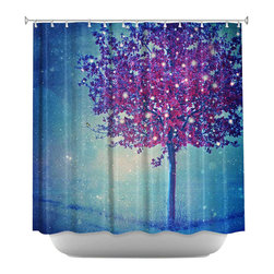 DiaNoche Designs - Shower Curtain Artistic - Song of the Winterbird - DiaNoche Designs works with artists from around the world to bring unique, artistic products to decorate all aspects of your home.  Our designer Shower Curtains will be the talk of every guest to visit your bathroom!  Our Shower Curtains have Sewn reinforced holes for curtain rings, Shower Curtain Rings Not Included.  Dye Sublimation printing adheres the ink to the material for long life and durability. Machine Wash upon arrival for maximum softness. Made in USA.  Shower Curtain Rings Not Included.