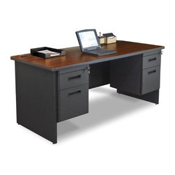 "Marvel Office Furniture - Pronto 66"" Double Pedestal Computer Desk - If you a looking for an office desk, front office desk, or computer desk, look no further than the Pronto office furniture systems by Marvel. Your office design will be easy with one of our office desk sets. With solutions for the home office or commercial furniture environment, the Pronto desk make it easy to work comfortably, our storage solutions help you to be more organized. Features: -Desk.-Durable melamine laminate tops.-Modesty panel with wire management.-Locks with 2 keys.-2 Hanging pedestals with box and file.-Made in USA.-Includes two 2'' grommets with full leg end panel.-Pronto collection.-Desk Type: Double Pedestal Desk.-Powder Coated Finish: Yes.-Gloss Finish: No.-UV Finish: No.-Top Material: Laminate.-Base Material: Metal.-Number of Items Included: 3.-Water Resistant: No.-Stain Resistant: No.-Heat Resistant: No.-Distressed: No.-Collection: Pronto.-Eco-Friendly: Yes.-Cable Management: Yes.-Keyboard Tray: No.-Height Adjustable: No.-Drawers Included: Yes -File Drawer: Yes.-Drawer Glide Material : Metal.-Drawer Glide Extension: Full Extension.-Safety Stop : Yes.-Soft-Close Drawer: No.-Locking Drawer: Yes.-Core Removable Drawer Locks: No.-Ball Bearing Glides: Yes..-Number of Drawer Pedestals: 2.-Pencil Drawer: No.-Jewelry Tray: No.-Exterior Shelving: No.-Ergonomic Design: No.-Handedness: Both.-Scratch Resistant: No.-Chair Included: No.-Legs Included: Yes -Number of Legs: 2.-Leg Material: Steel.-Leg Glides: No..-Casters Included: No.-Hutch Included: No.-Treadmill Included: No.-Modesty Panel: Yes -Modesty Panel Details: 3/4 Height..-CPU Storage: No.-Built In Outlet: No.-Built In Surge Protector: No.-Light Included: No.-Finished Back: No.-Tipping Prevention: No.-Modular: No.-Application: Office.-Commercial Use: Yes.-Country of Manufacture: United States.-Solid Wood Construction: Yes.-Wood Tone (Color: Oak Laminate/Putty): Light.-Wood Tone (Color: Mahogany Laminate/Dark Neutral): Dark.-Swatch Available: Yes.-Recycled Content: Yes.Specifications: -Green Guard Certified: Yes.Dimensions: -Overall Height - Top to Bottom: 29"".-Overall Width - Side to Side: 66"".-Overall Depth - Front to Back: 30"".-Desk Return: No.-Credenza: -Credenza Height- Top to Bottom: 29"".-Credenza Width- Side to Side: 66"".-Credenza Depth- Front to Back: 30""..-Bridge: No.-Cabinet: No.-Drawer: No.-Shelving: No.-Seat: No.-Desktop Height: 29"".-Desktop Width - Side to Side: 66"".-Desktop Depth - Front to Back: 30"".-Knee Space Height: 27.75"".-Knee Space Depth: 30"".-Hutch: No.-Legs: -Leg Height: 27.75""..-Overall Product Weight: 206 lbs.Assembly: -Assembly required.-Assembly Required: Yes.-Additional Parts Required: No.Warranty: -Product Warranty: Lifetime."