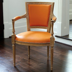 Marilyn Arm Chair in Orange Leather -