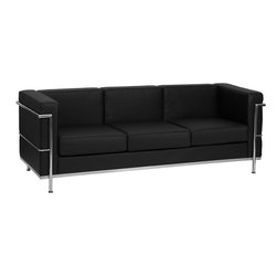 Flash Furniture - Flash Furniture Hercules Regal Series Contemporary Black Leather Sofa - This attractive black leather reception sofa will complete your upscale reception area. The design of this sofa allows it to adapt in a multitude of environments with its smooth upholstery and visible accent stainless steel frame. [ZB-REGAL-810-3-SOFA-BK-GG]