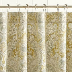 """Celeste Damask Shower Curtain, Multicolor - Our Celeste shower curtain an affordable, high-impact update to the bath. 72"""" square Woven of a linen/cotton blend. Machine wash. Imported."""