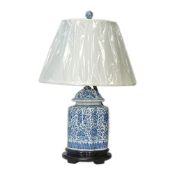 Golden Lotus - Chinese Blue & White Porcelain Jar Table Lamp - This is an oriental table lamp with theme of blue & white porcelain flower graphic jar.