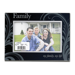 """Lawrence Frames - Glass and Metal 4x6 Family Picture Frame - Silver metal picture frame with glass front with """"Family...my family, my life"""" in black and silver will highlight any treasured photo.    High quality black velvet backing with an easel for horizontal table top display, and hangers for horizontal wall mounting.    Heavy weight 4x6 metal picture frame is made with exceptional workmanship and comes individually boxed."""