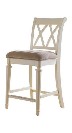 American Drew - American Drew Camden-Light Counter Height Barstool in White Painted - Barstool Counter Height in White Painted belongs to Camden-Light Collection by American Drew The Camden-Light Collection melds simple forms with quiet traditional references, gentle curves and a beautiful time worn ivory finish that lets the character of the wood show through. The brushed nickel finish hardware adds even more character to the Camden collection. This line will work great in your renovated farm house or a smaller beach cottage get-away. Barstool (1)