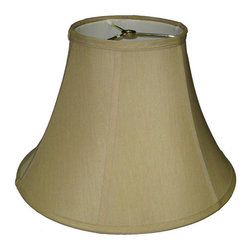 None - Khaki Fabric Bell Lamp Shade - This classic khaki-colored bell-style lamp shade features a traditional look and piping in a neutral color for versatile style anywhere in your home. This durable lamp shade will fit any standard lamp harp with finial.