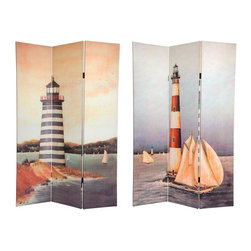 Oriental Furniture - 6 ft. Tall Double Sided Lighthouses Canvas Room Divider - Unique turn of the century light house beach paintings cover each side of this intriguing nautical room divider. The subtle, attractive imagery in neutral colors provides a beautiful decorative accent for any home or office. Each side has a different image as shown.