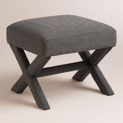 World Market - Brendan X-Base Stool - Upholstered top to bottom in charcoal gray houndstooth, our Brendan X-Base Stool is a handsome seating solution or ottoman. Alone or in pairs, this compact stool is perfect in the living room or at the foot of the bed.