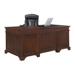 Hekman - Home Office Weathered Cherry Junior Executive Desk - This is a beautiful piece of top-quality furniture that's perfect for your Man Cave, Game Room, Office or anywhere you would like to decorate and show your personal style.