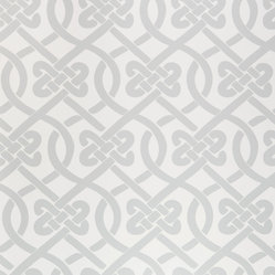 Kimberly Lewis Home - Knotted Wallpaper Sheet, Frost - Get ready to tie the knot. You'll love this classic and stylish pattern covering books on your shelf or behind the books on your shelf.