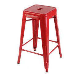 "sugarSCOUT - Custom Painted Tolix Style 24"" & 30"" Counter or Bar Stools, Red, 30"" - Go bright....go colorful."