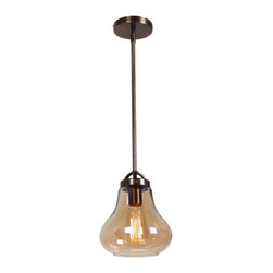 Access Lighting - Access Lighting 55545 Flux 1 Light Mini Pendant - The 55545 Flux Vintage Lamped Pendant by Access Lighting features a beautiful style from a bygone era.  This exceptional lamped fixture features amber clear smoke glass and has finish options including antique bronze and antique nickel.  Use this early 20th century design to add a touch of class to your home.        Specifications: