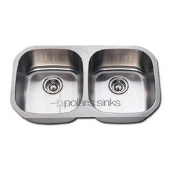 Polaris - Polaris P205 Undermount Double Equal Bowl Stainless Steel Kitchen Sink - Polaris P205 Undermount Double Equal Bowl Stainless Steel Kitchen Sink