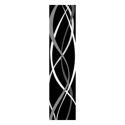 "Wizard & Genius - Retro Stripe Wall Decals - The retro wall stripe decal creates a mod black and white swirl on walls, fresh and sophisticated. Contains three 18.5"" x 26.75"" sheets - 18.5"" x 80.25"" assembled. Imported from Germany."